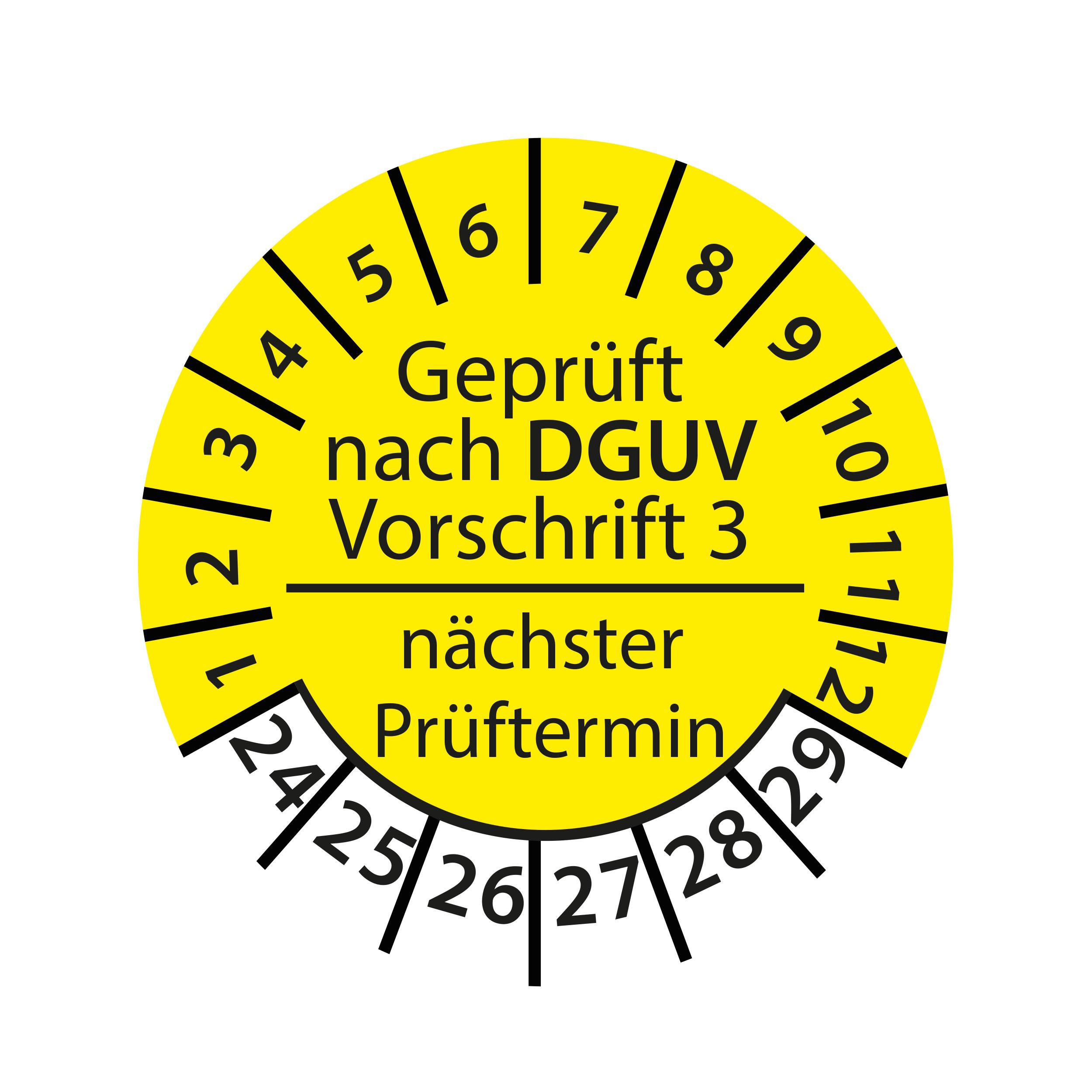 Prüfplakette E-Check Elektro Wartung STK MTK DGUV Vorschrift 3 Nächster Prüftermin geprüft gemäß VDE 2024-2029 Ø 30mm Rund Gelb