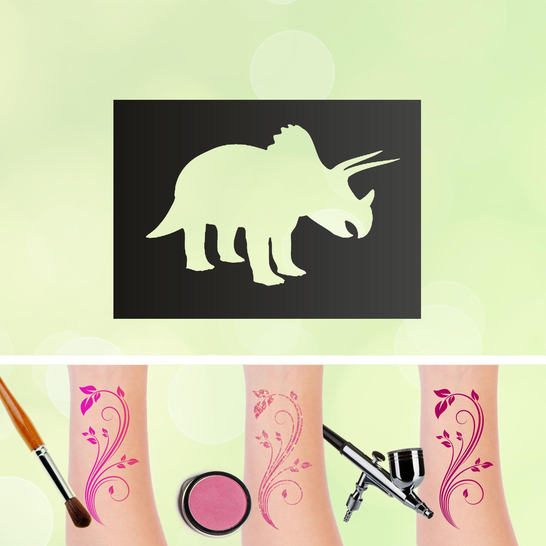 Tattoo Schablonen Dinosaurier V2 Selbstklebend Kinderschminken Airbrush