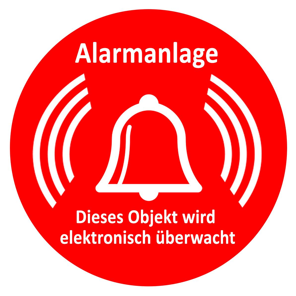 Türaufkleber / Fensteraufkleber - Alarmanlage rund rot