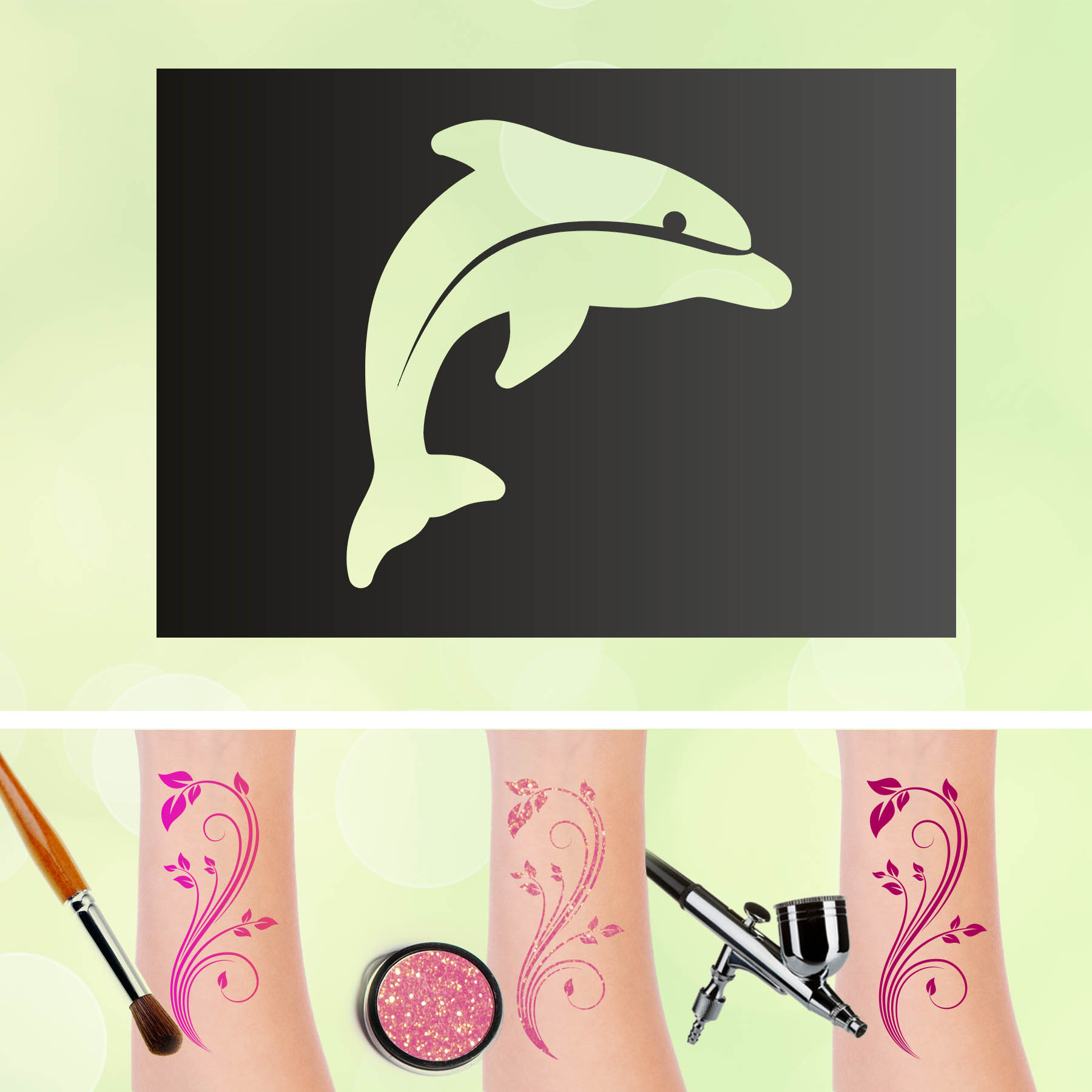 Tattoo Schablonen Delphin Selbstklebend Kinderschminken Airbrush