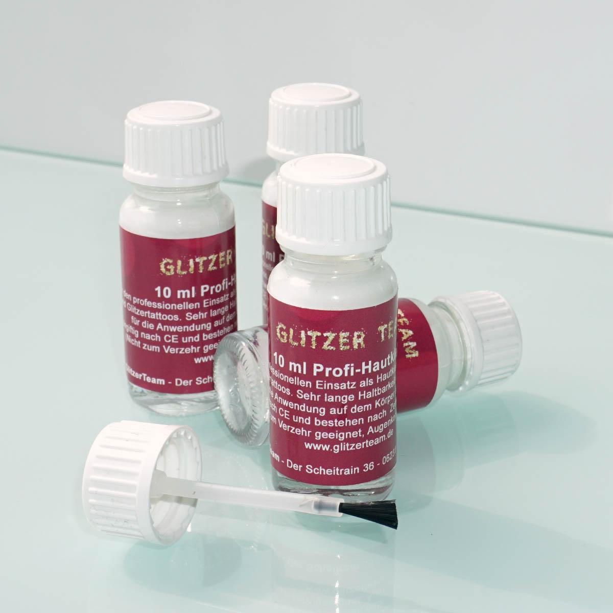 "Hautkleber ""Glitzer Team"" Professionell speziell für Glitzer Tattoo´s - 10ml"