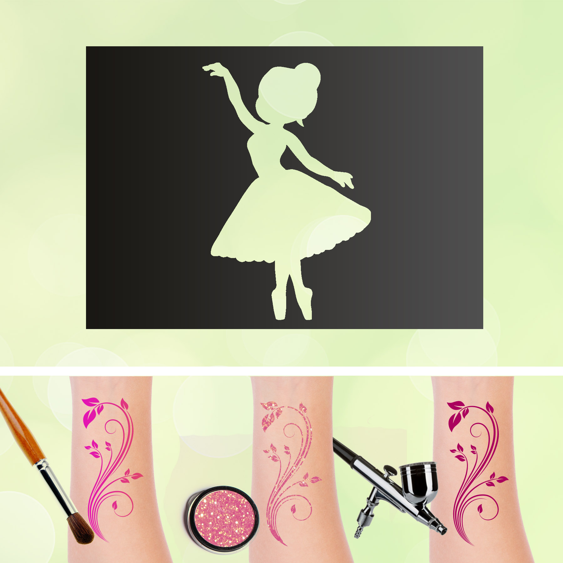Tattoo Schablonen Ballerina Selbstklebend Kinderschminken Airbrush