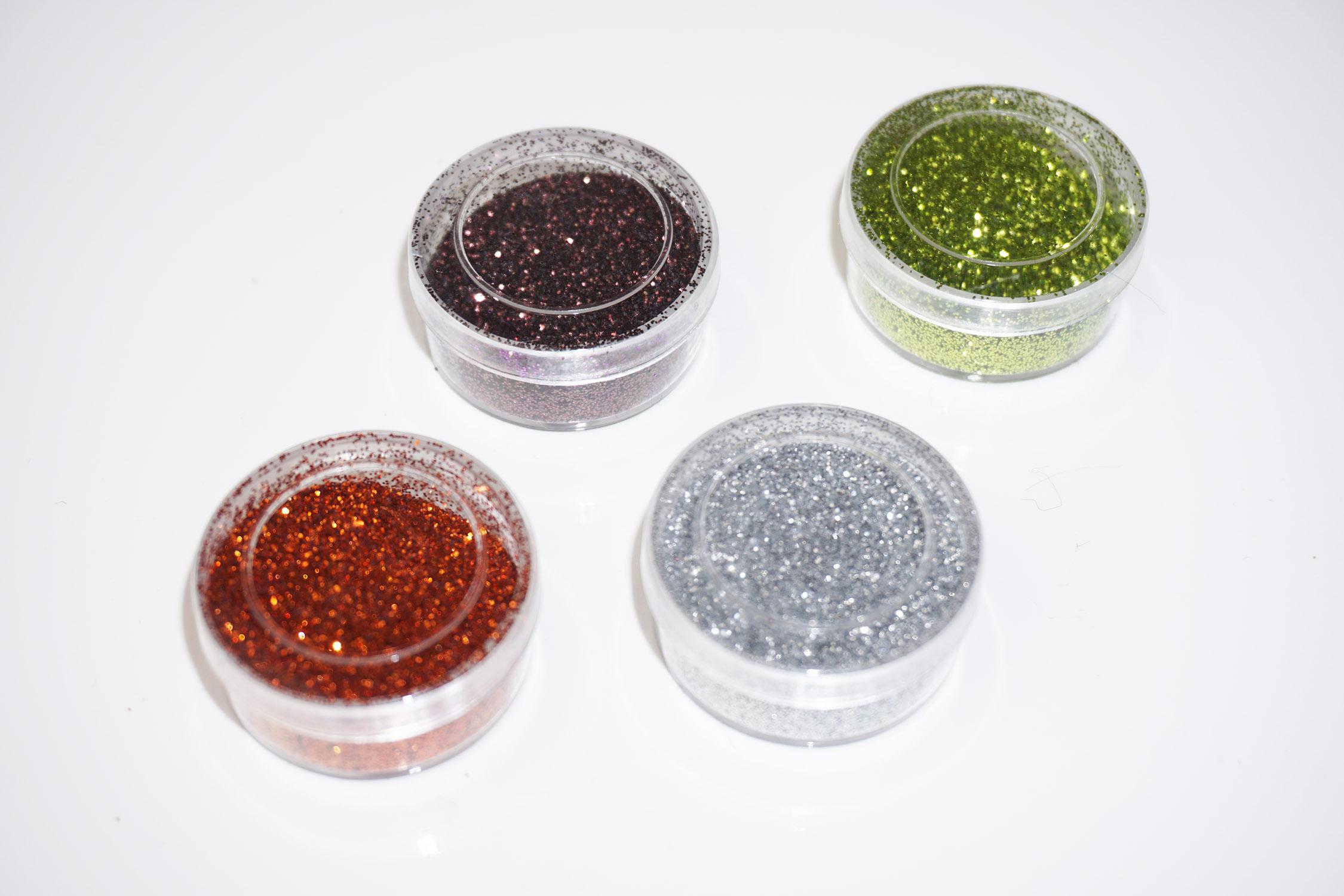 Glitzer Glitzerpulver Glitzer-Staub Glitter Glitzer Tattoo´s Nail Set 4 Farben Herbst Grün Kupfer 6g