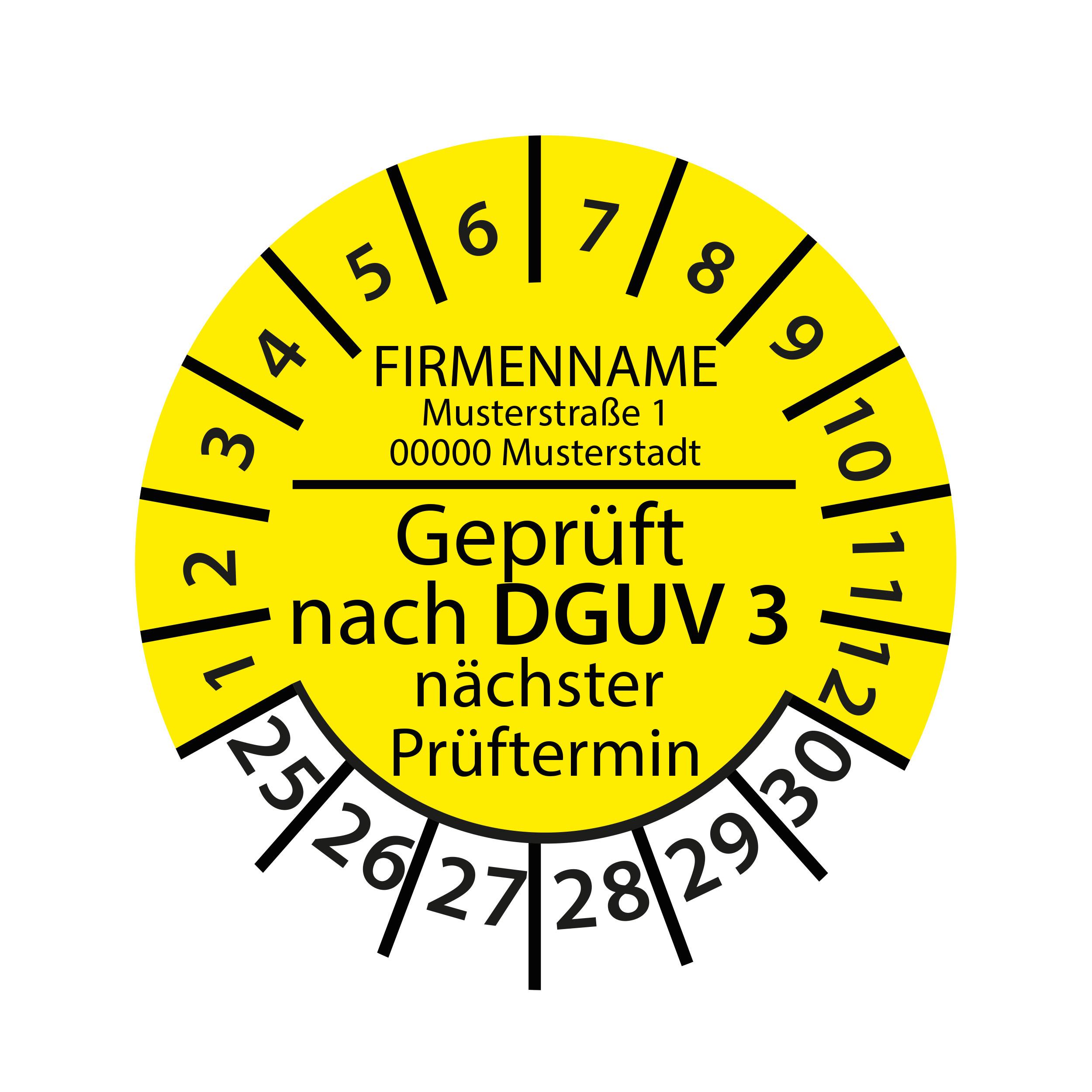 Prüfplakette mit Firmenname - geprüft nach DGUV Vorschrift 3 nächster Prüftermin 2025-2030 Ø 30mm Rund Gelb / Blau