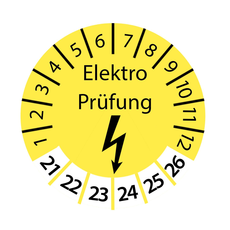 Prüfplakette Elektro Prüfung 2021 - 2026 Ø 2-3 cm Rund Gelb Prüfetikett Prüfaufkleber