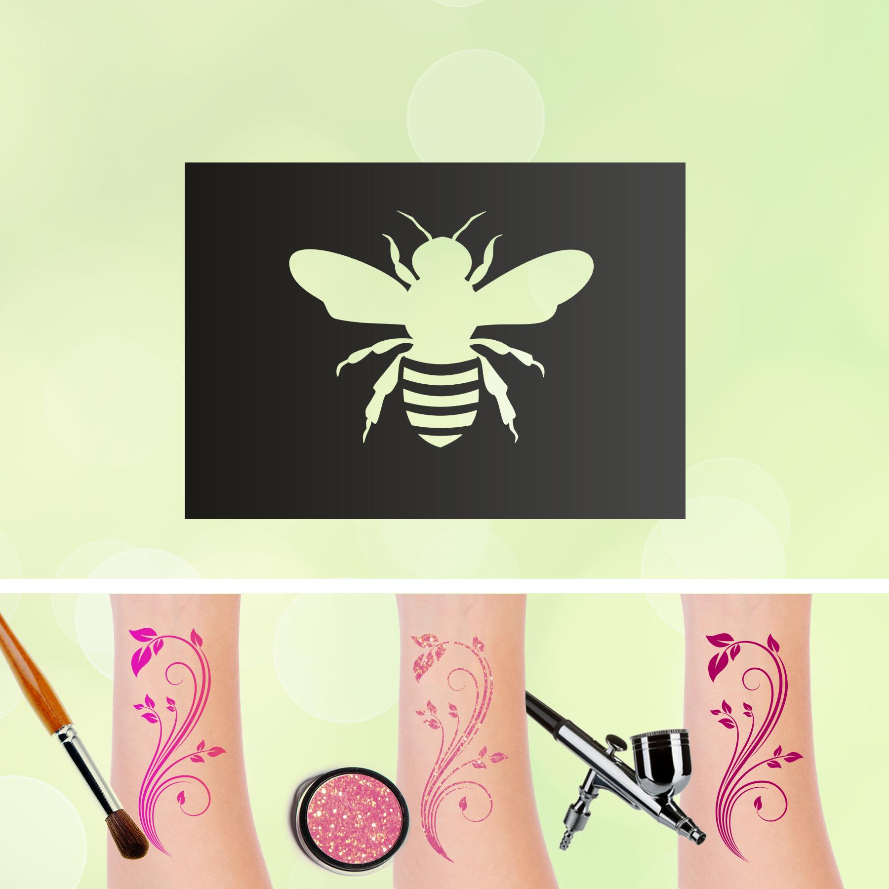 Tattoo Schablone Biene Glitzertattoos Selbstklebend Kinder Schminken Airbrush Frühling