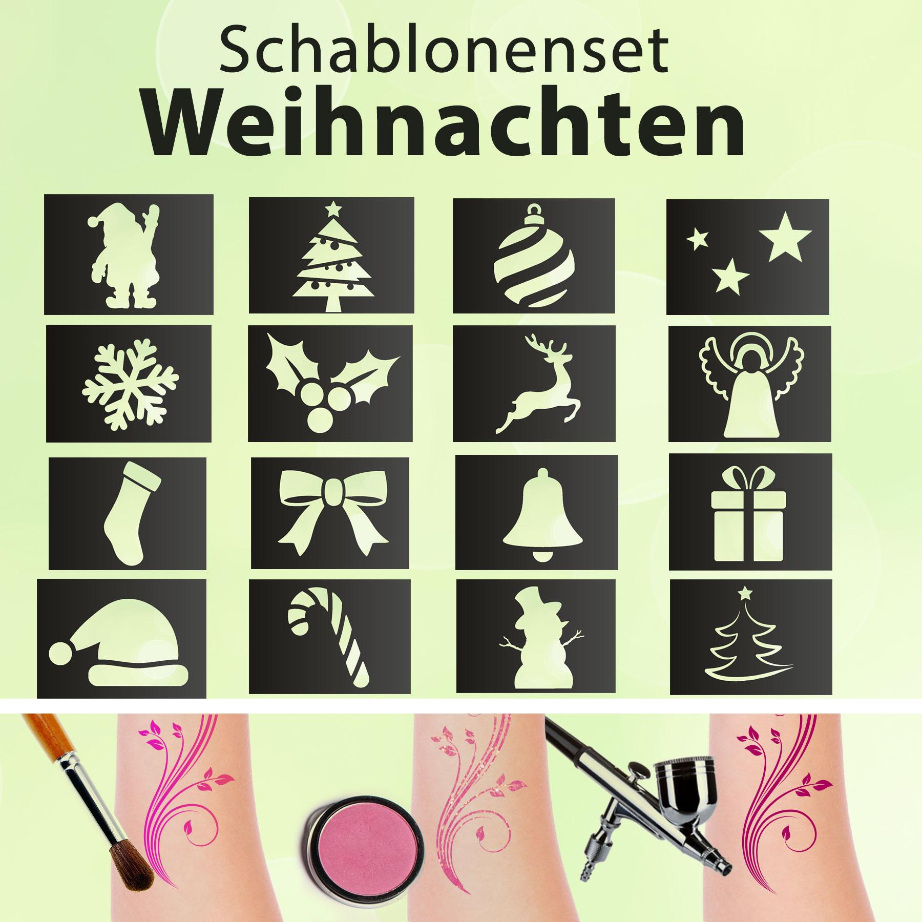Tattoo Schablonen SET Kinder Weihnachten (16 Schablonen) Selbstklebend schminken Airbrush Geschenkid