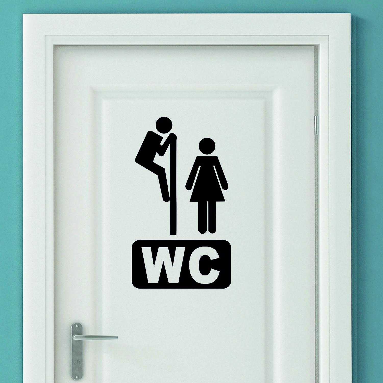 Aufkleber Türaufkleber WC SPION Mann Frau Toilette Fun Sticker in Schwarz oder Wunschfarbe