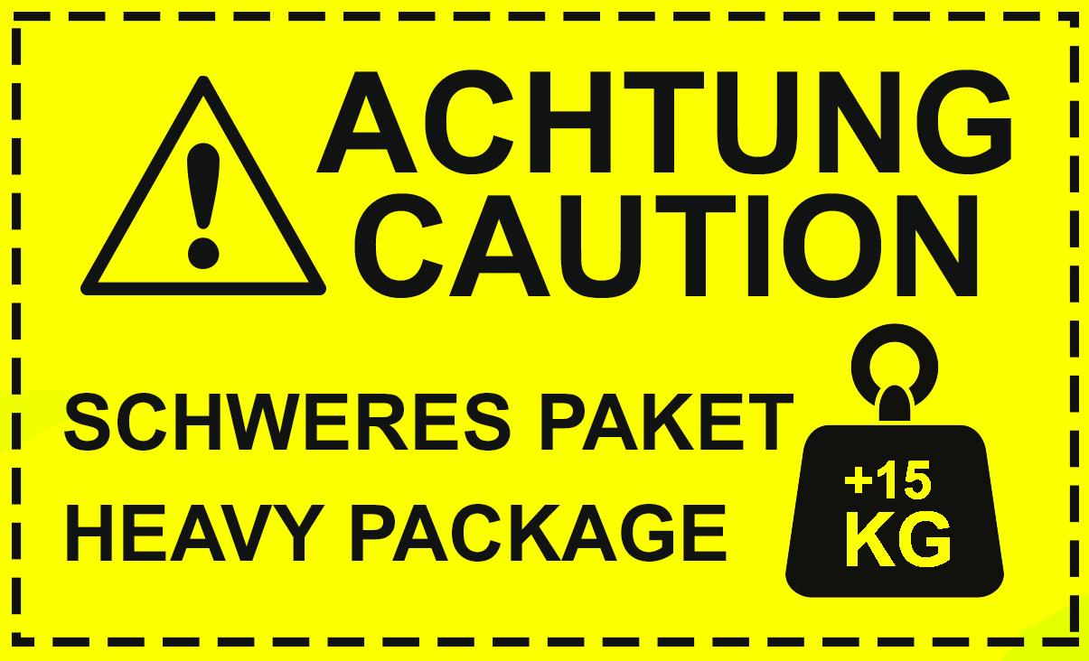 Aufkleber Achtung Caution Schweres Paket Haevy Package+15kg Neon gelb Hinweisaufkleber Versand