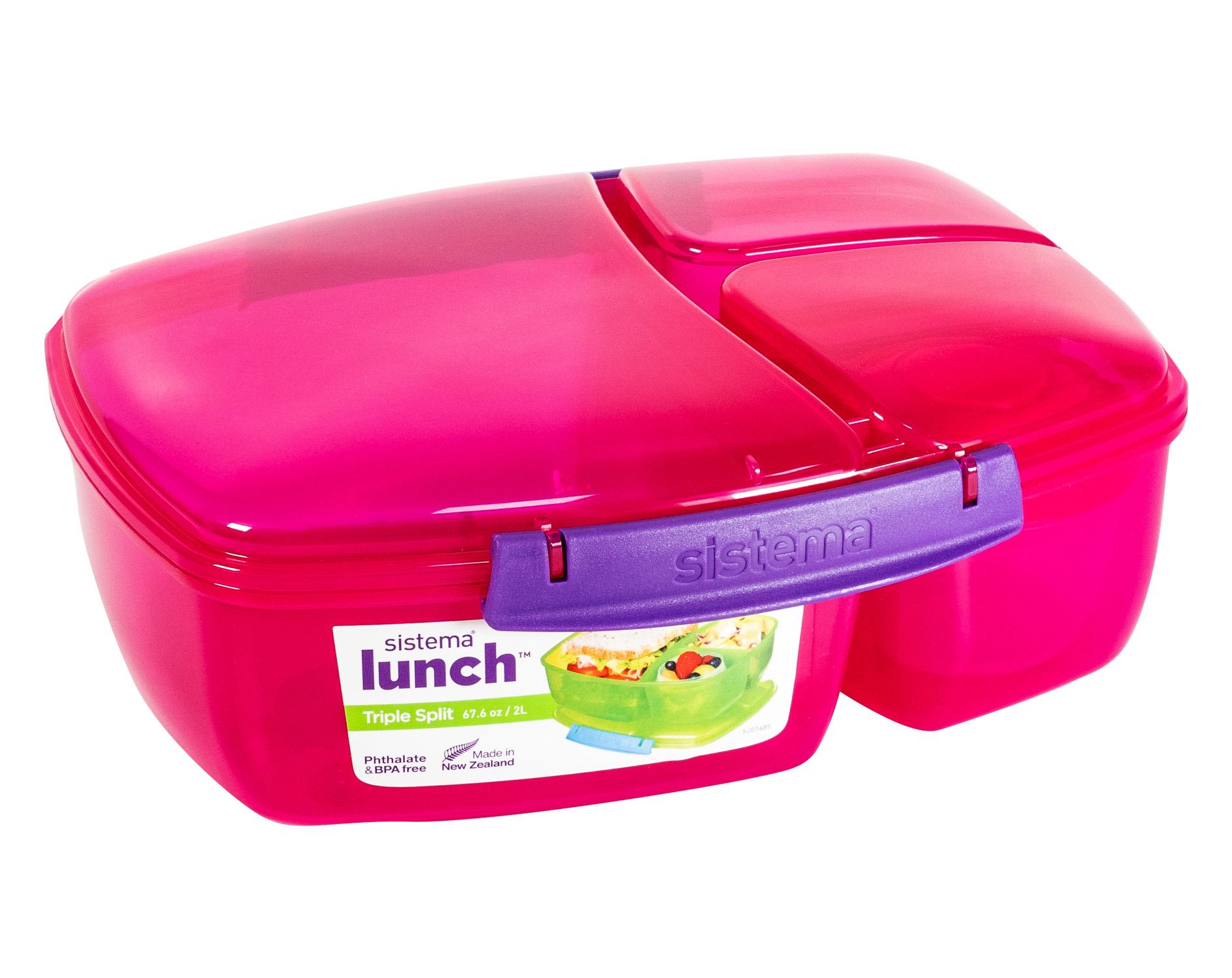 Lunchbox Brotdose Snack Box sistema Triple Split 3-fach unterteilt mit Joghurttopf 2L