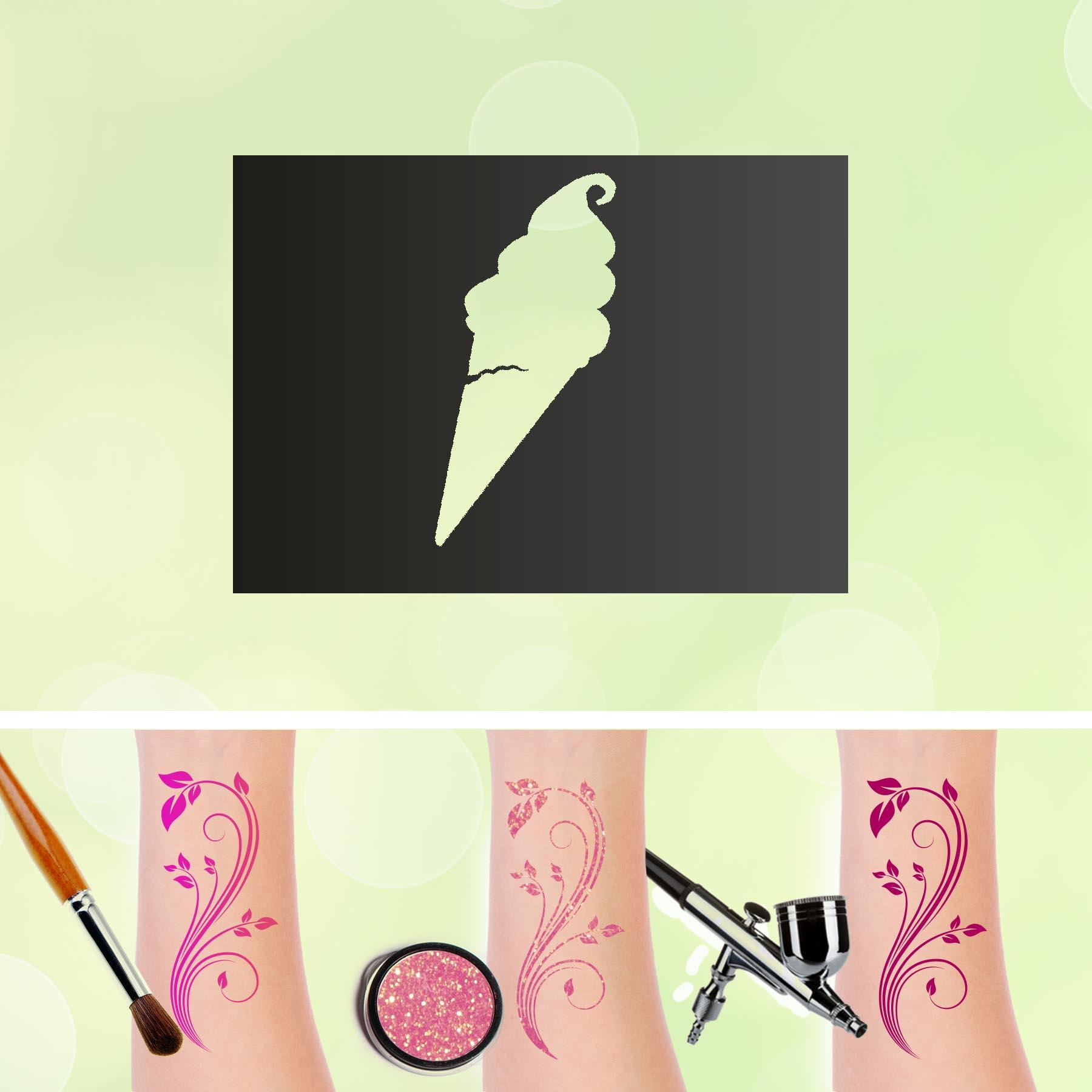 Tattoo Schablonen Eistüte Selbstklebend Kinderschminken Airbrush