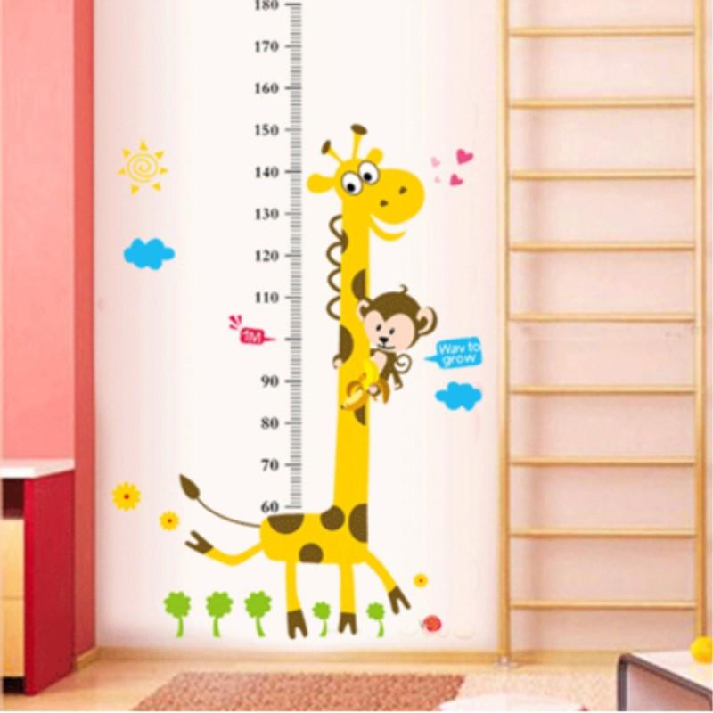 Wandtattoo Kinderzimmer - Messlatte Maßstab Giraffe V2 70 - 180 cm