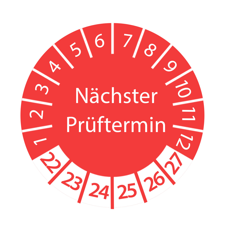 Prüfplakette Nächster Prüftermin 2022 - 2027 Ø 2-3cm Rund Rot Prüfetikett Prüfaufkleber