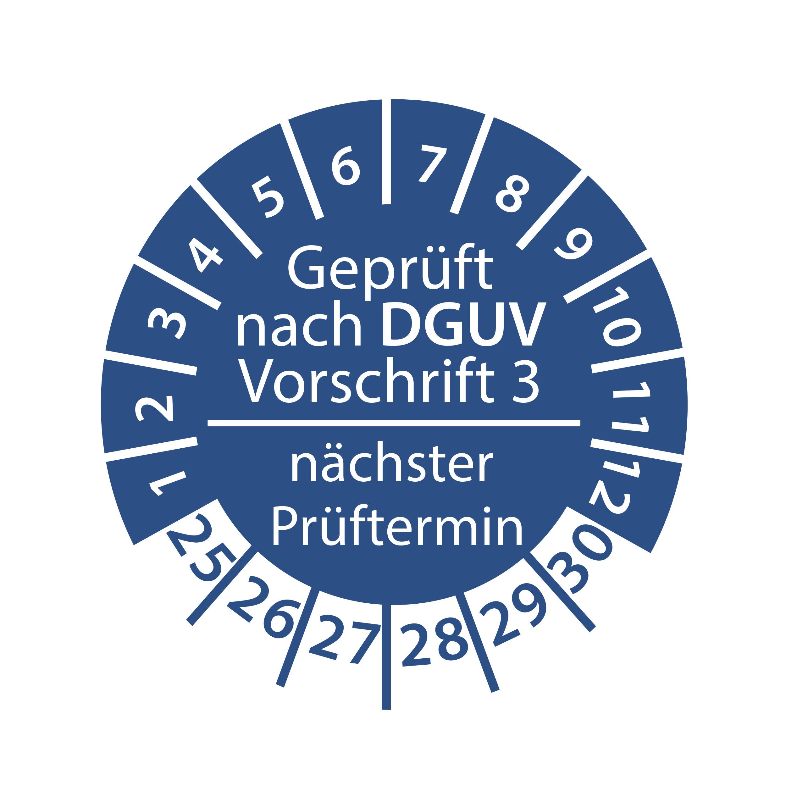 Prüfplakette geprüft nach DGUV Vorschrift 3 nächster Prüftermin 2025-2030 Ø 30mm Rund Gelb / Blau Prüfetikett Prüfaufkleber