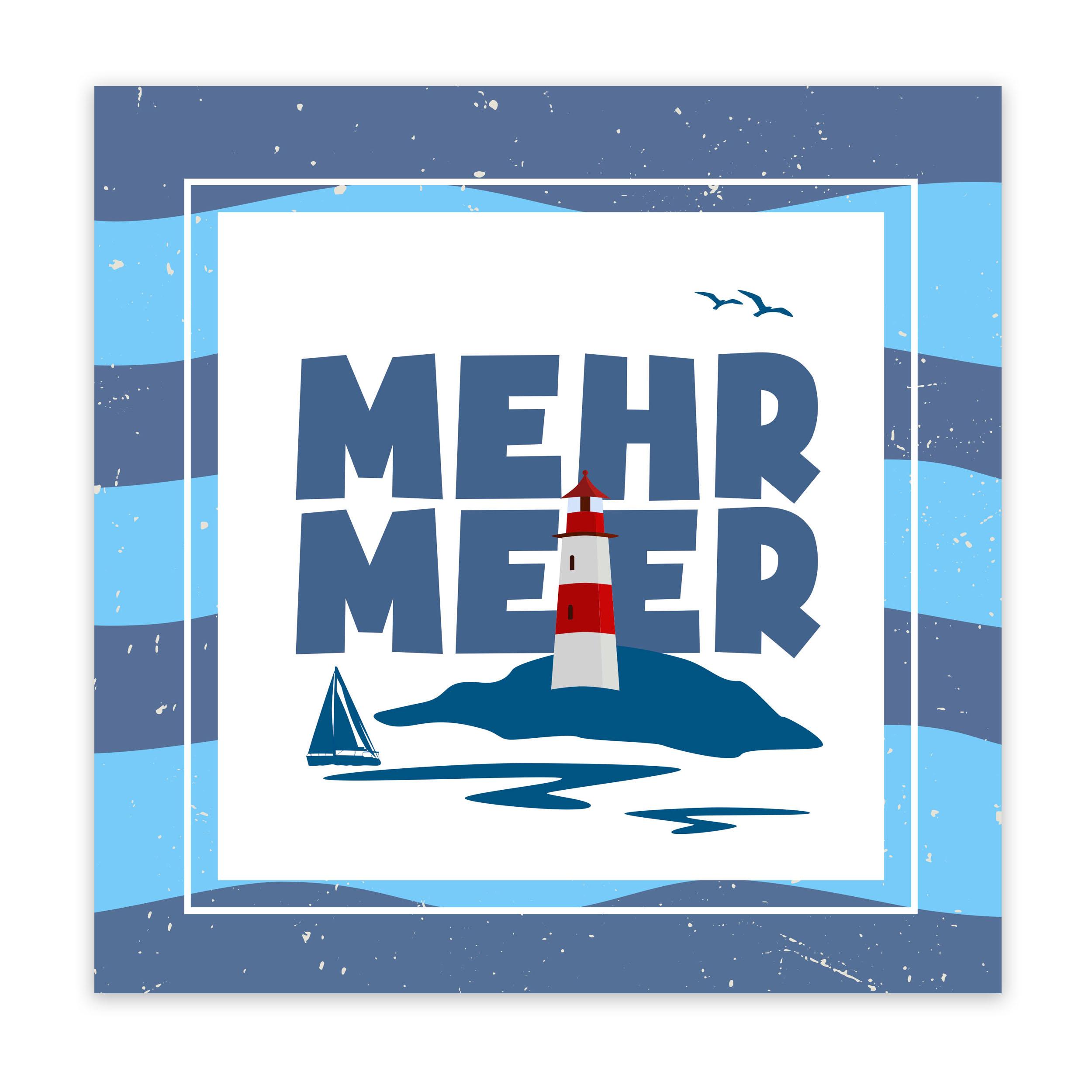 Mehr Meer Schild Alu Verbund Wandbild Strand Leuchtturm Boot Wellen Möve See Ostsee Nordsee Bild Geschenkidee