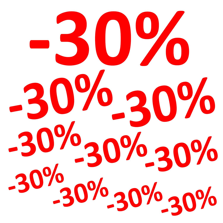 Aufkleber -30% 10er Set Prozent Sale Rabatt Reduziert Schaufenster Preisschild Ausverkauf Rot