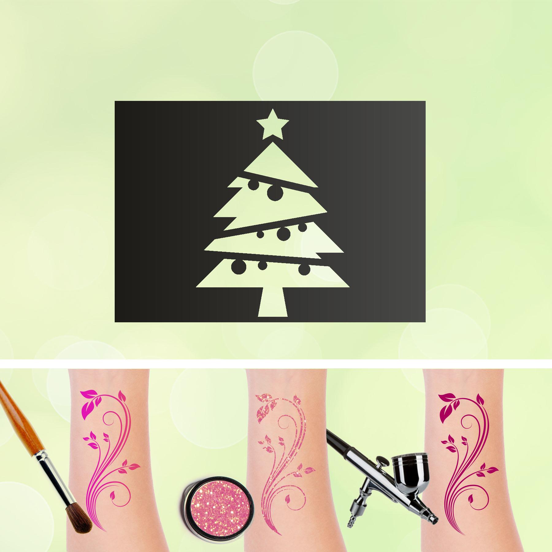 Tattoo Schablone Weihnachtsbaum Selbstklebend Kinder Schminken Airbrush