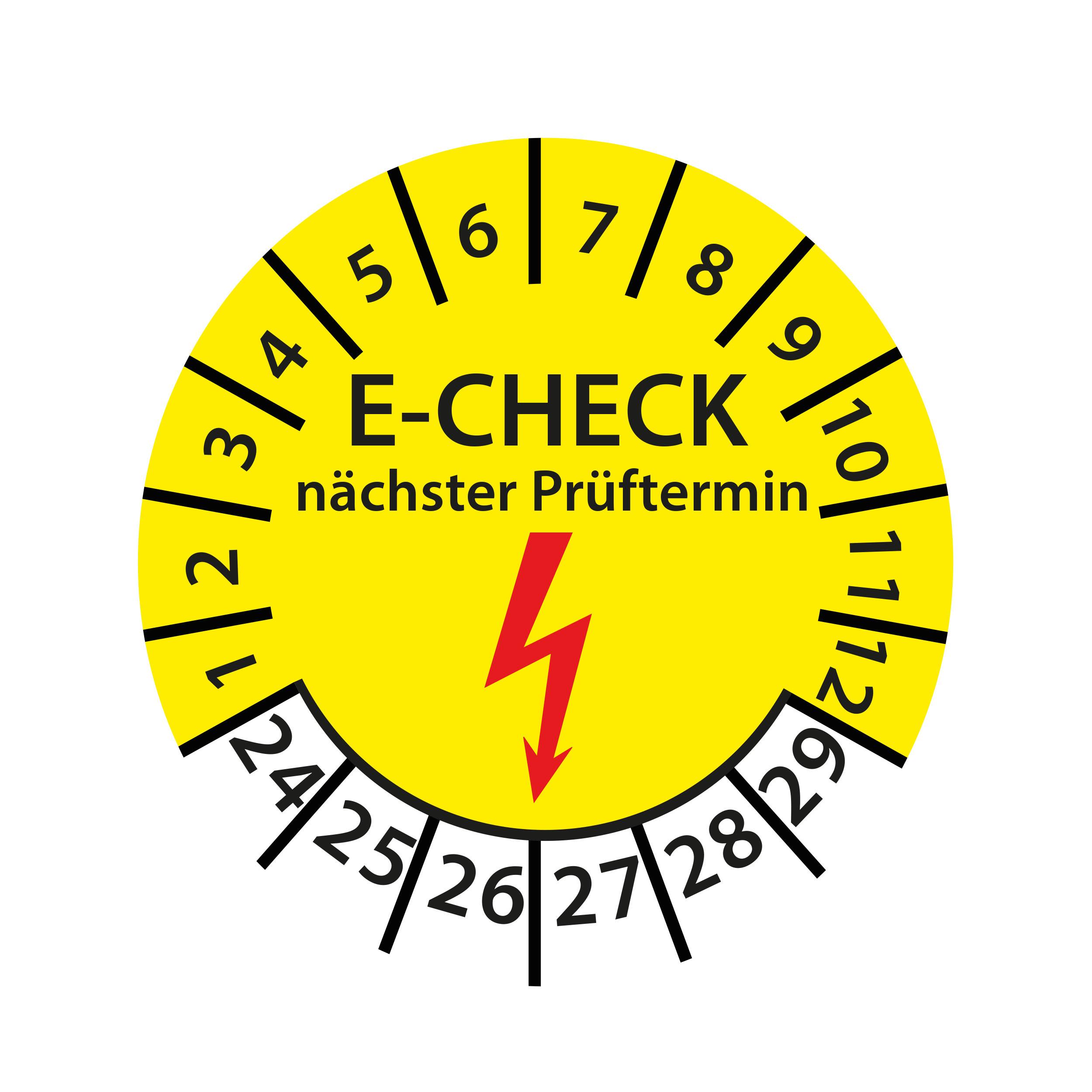 Prüfplakette E-Check nächster Prüftermin 2024-2029 Ø 30mm Rund Gelb Prüfetikett Prüfaufkleber