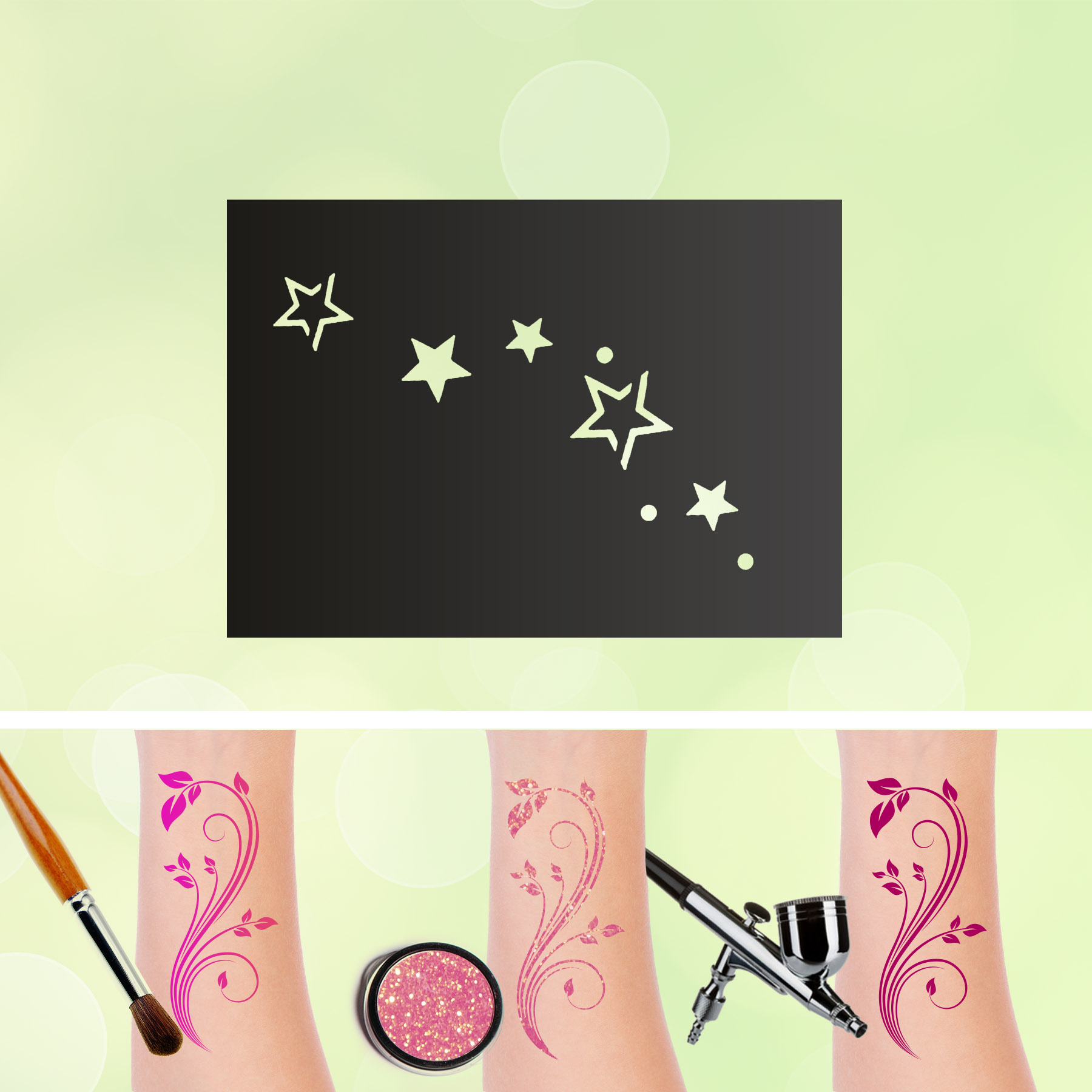 Tattoo Schablonen Sterne Selbstklebend Kinderschminken Airbrush
