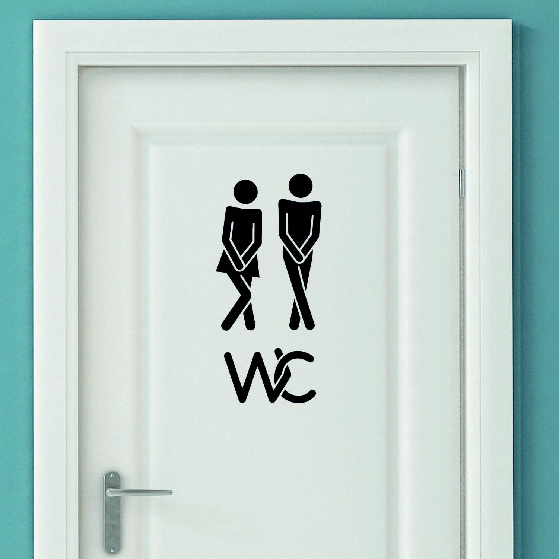 Aufkleber Türaufkleber WC - Dringend WC 2 Fun Toilette in der Farbe Schwarz oder Wunschfarbe