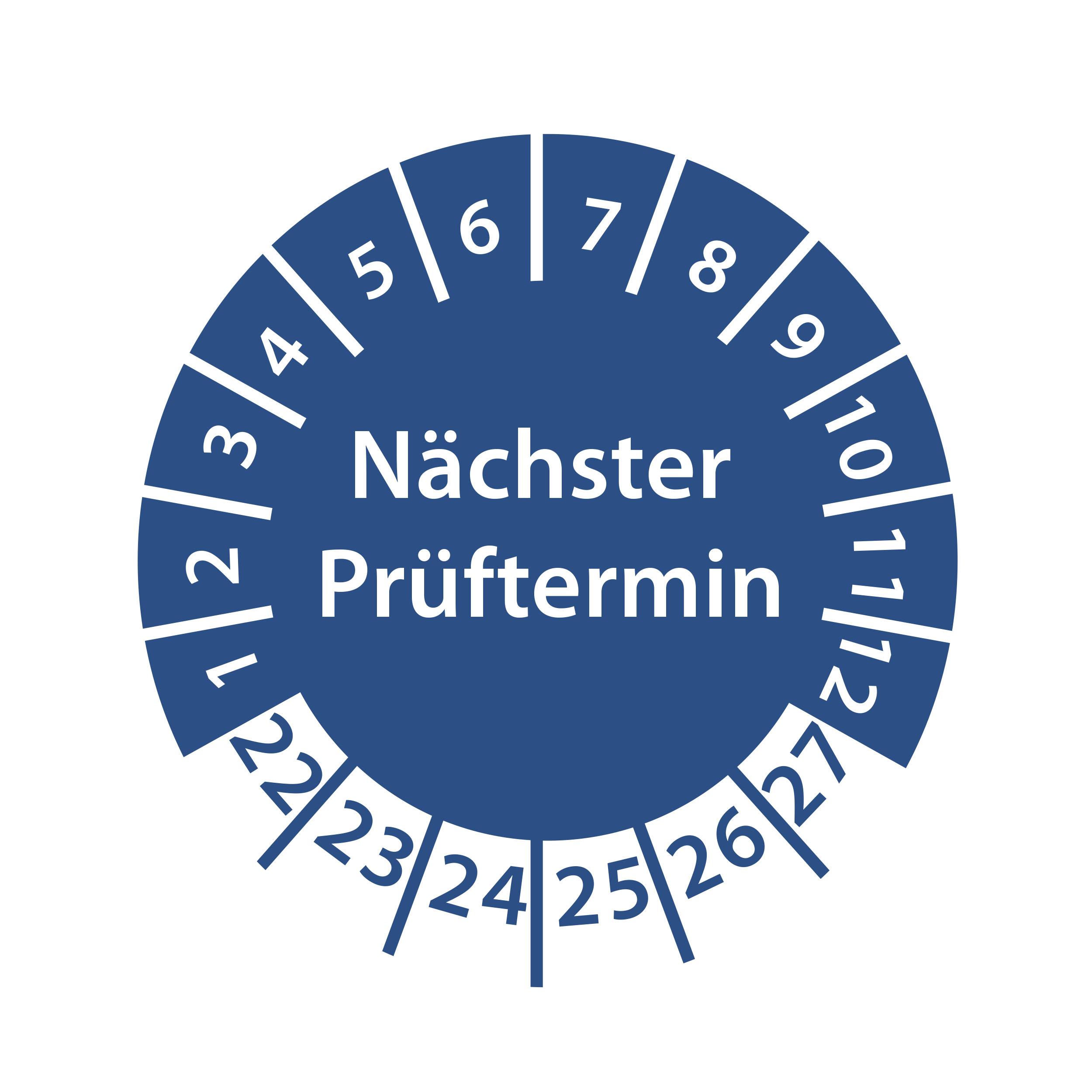 Prüfplakette Nächster Prüftermin 2022-2027 Ø 30mm Rund Gelb / Blau Prüfetikett Prüfaufkleber
