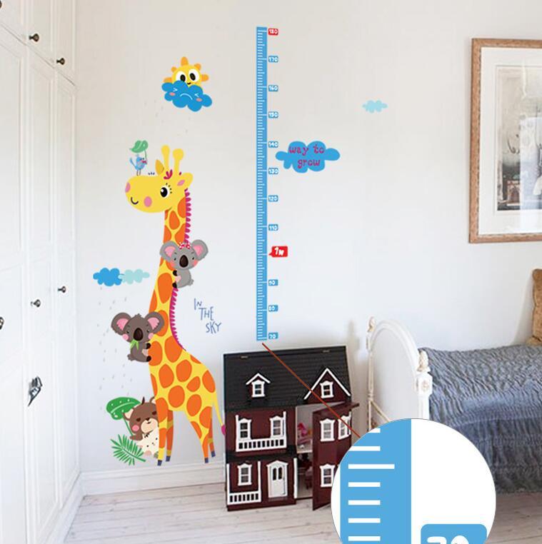 Wandtattoo Kinderzimmer - Messlatte Giraffe Wolke Sonne 70 - 180 cm