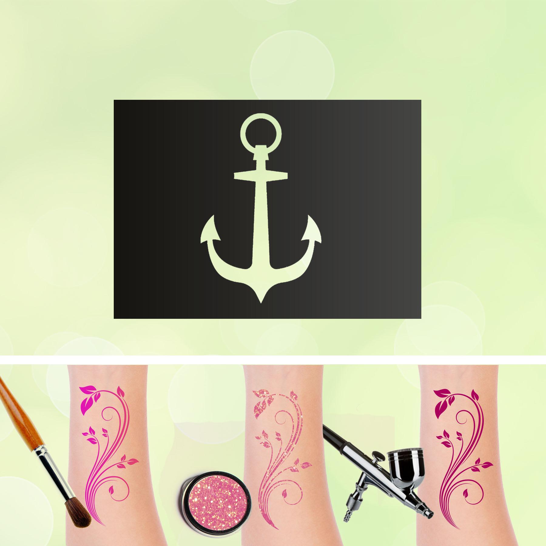 Tattoo Schablonen Anker 2 Selbstklebend Kinderschminken Airbrush