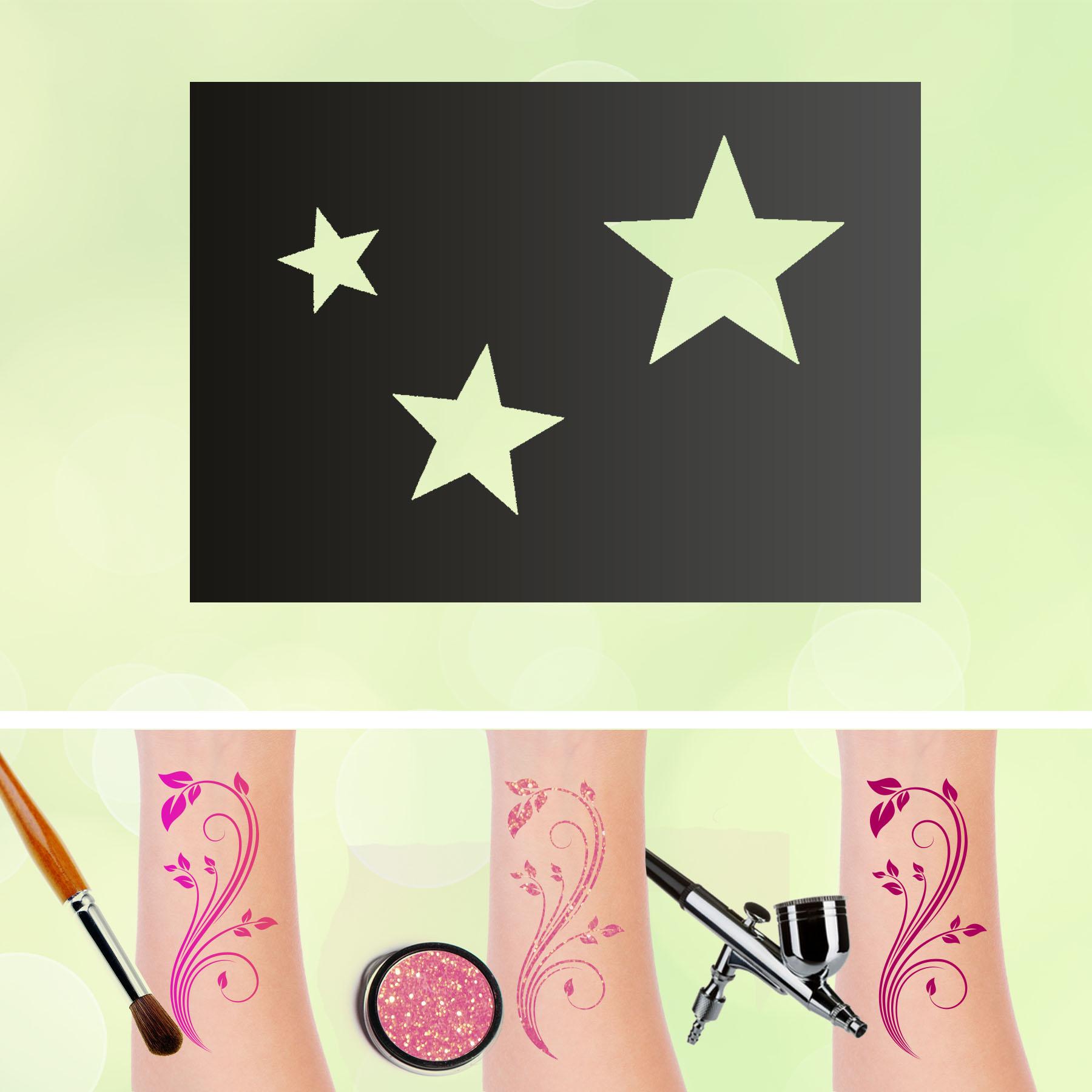 Tattoo Schablonen 3 Sterne Selbstklebend Kinderschminken Airbrush
