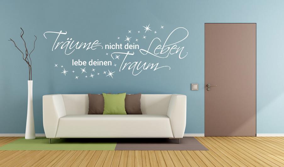 Aufkleber Wandtattoo Träume nicht dein Leben lebe deinen Traum Deko Sterne