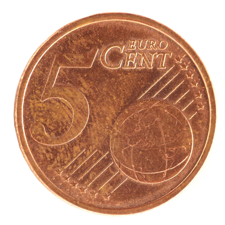 5 Cent Münzaufkleber- FUN Sticker Kleingeld rund ca. Ø 22 mm selbstklebend täuschend echt