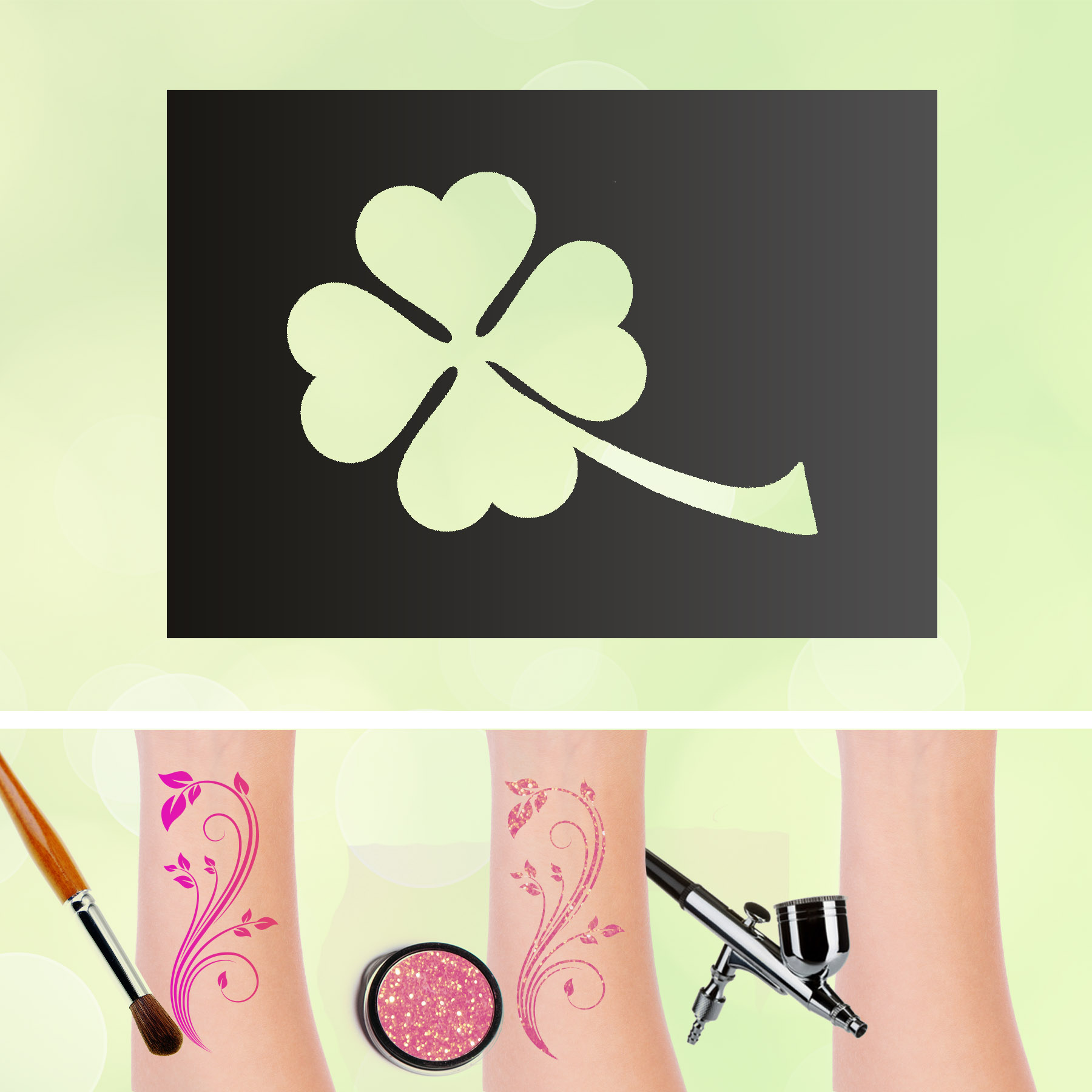 Tattoo Schablonen Kleeblatt Selbstklebend Kinderschminken Airbrush