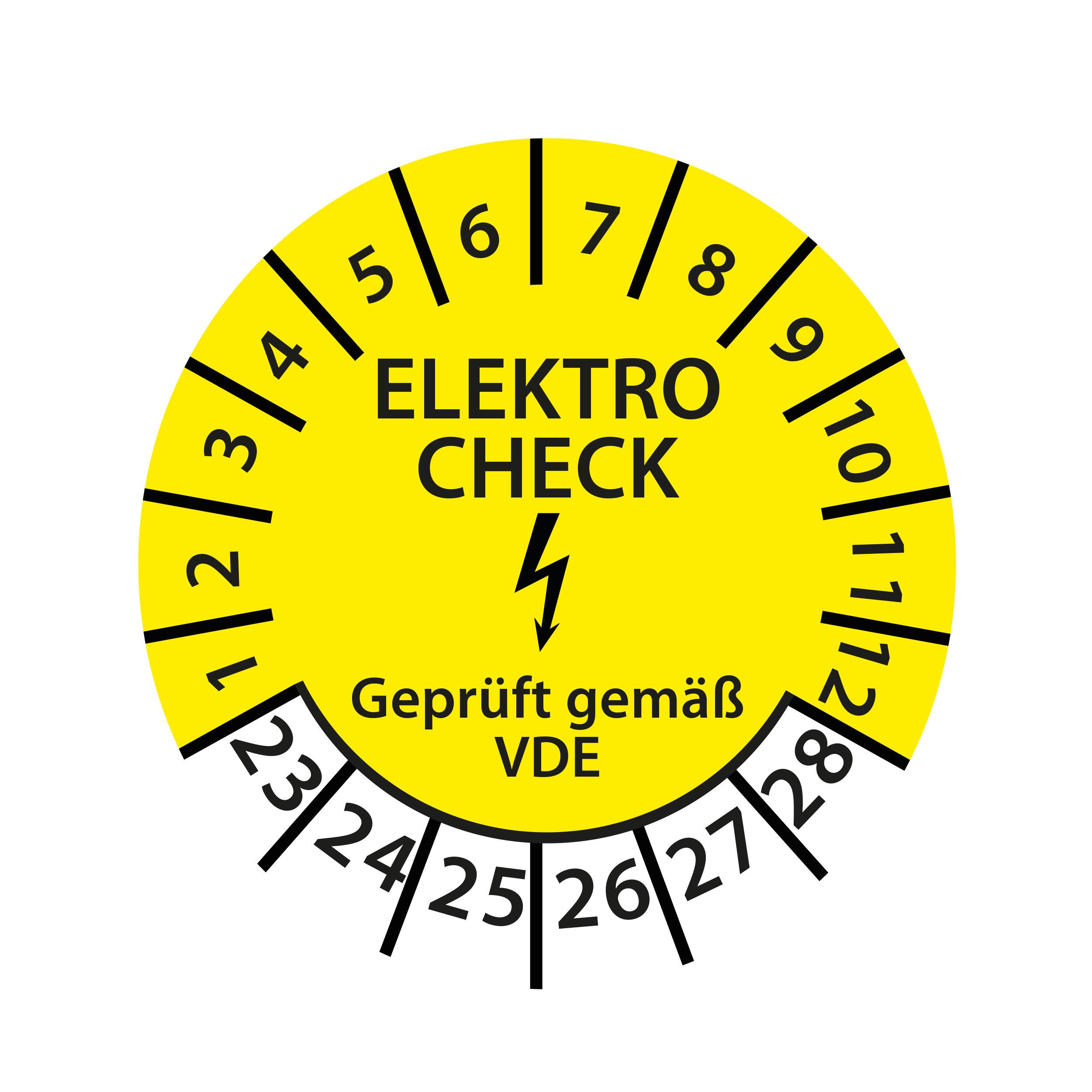 Prüfplakette Elektro Check geprüft gemäß VDE 2023-2028 Ø 30mm Rund Gelb Prüfetikett Prüfaufkleber