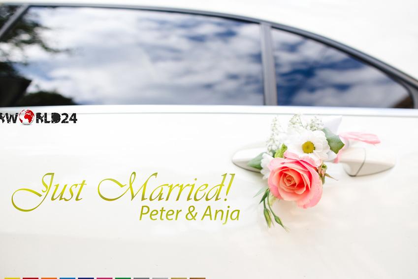 Aufkleber Hochzeit Auto Just Married! mit Name