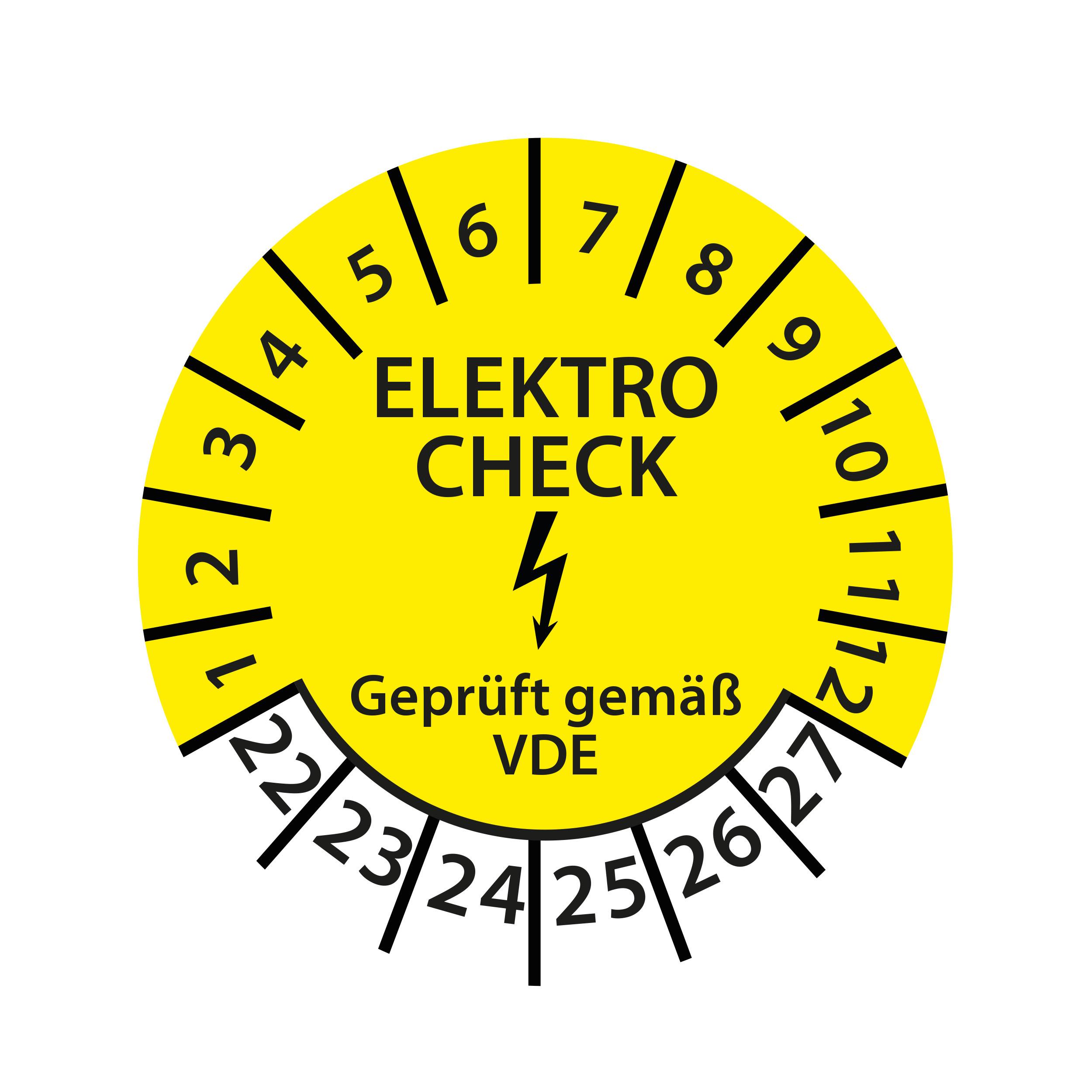 Prüfplakette E-Check Elektro Wartung STK MTK DGUV Vorschrift 3 Nächster Prüftermin geprüft gemäß VDE 2022-2027 Ø 30mm Rund Gelb