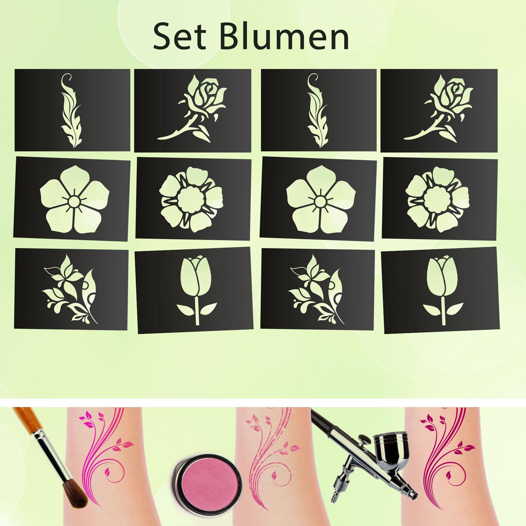 Tattoo Schablonen SET Blumen (12 Stück) Selbstklebend Kinderschminken Airbrush