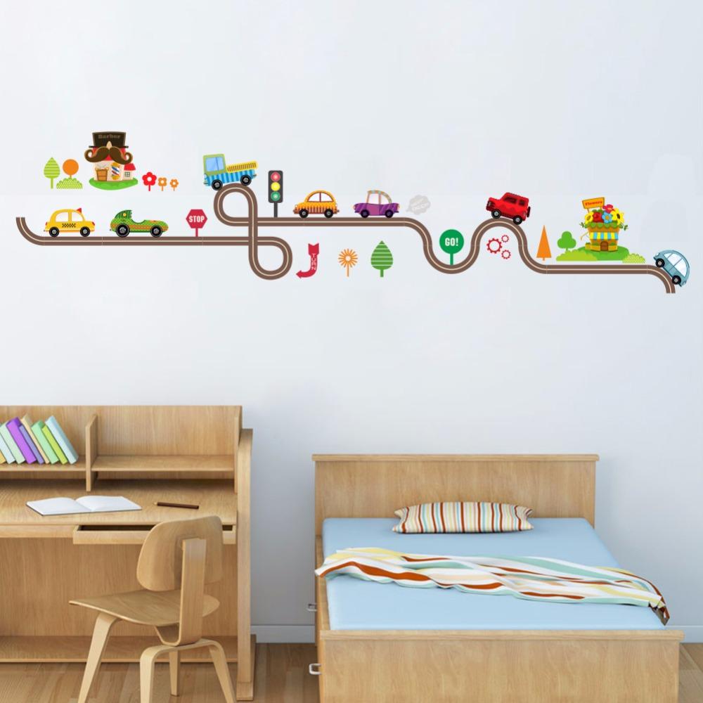 Wandtattoo Kinderzimmer - Autos Straße Fahrzeuge V1 ca. 38 x 156 cm