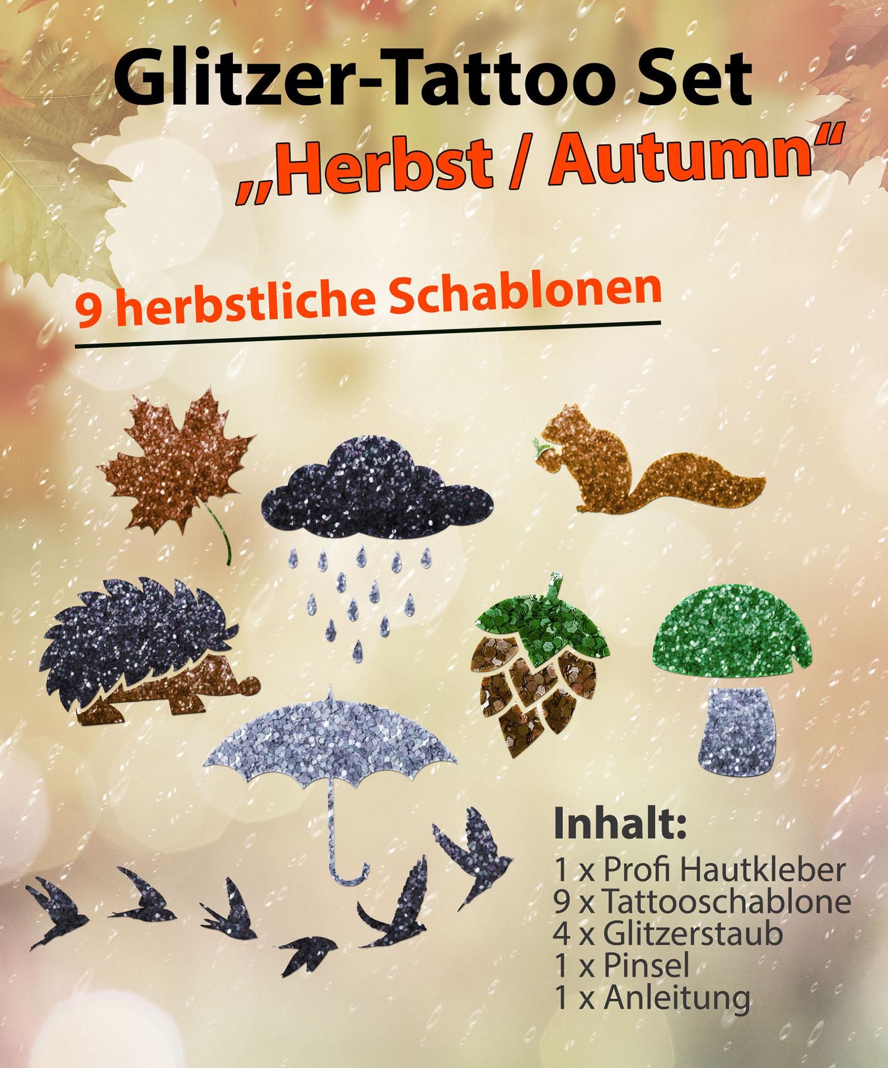 Glitzer Tattoo SET Kinder Herbst Autumn mit Profihautkleber, 1 Pinsel, 4 Glitzer, 8 Schablonen