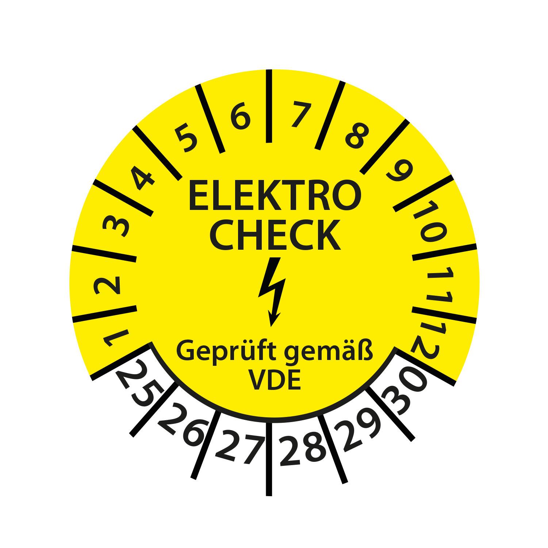 Prüfplakette E-Check Elektro Wartung STK MTK DGUV Vorschrift 3 Nächster Prüftermin geprüft gemäß VDE 2025-2030 Ø 30mm Rund Gelb