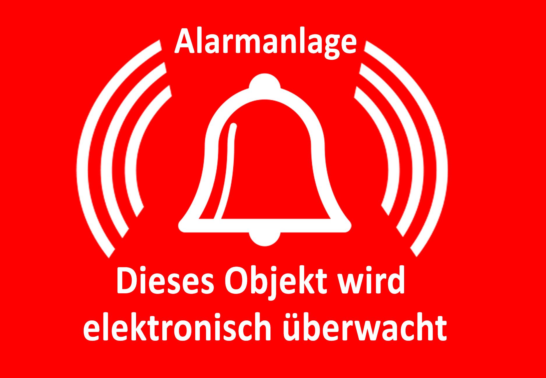 Alarmanlage Aufkleber Glocke Alarmglocke Hinweisschild Alarm Büro Türaufkleber Fensteraufkleber