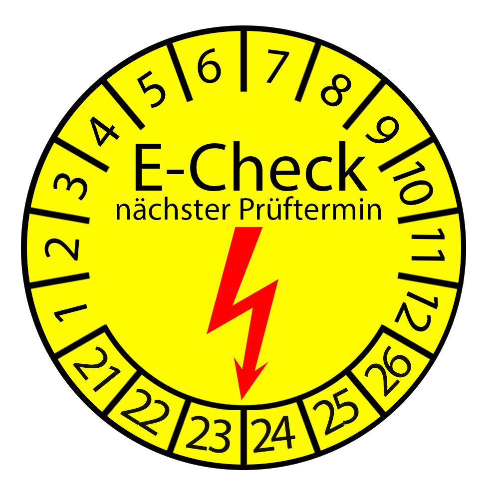 Prüfplakette E-Check nächster Prüftermin 2021-2026 Ø 2-3cm Rund Gelb Prüfetikett Prüfaufkleber