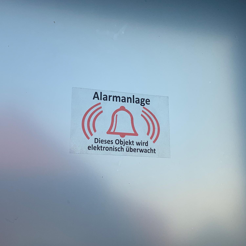 Aufkleber Alarmanlage Glocke Hinweisschild Türaufkleber Fensteraufkleber transparente Folie