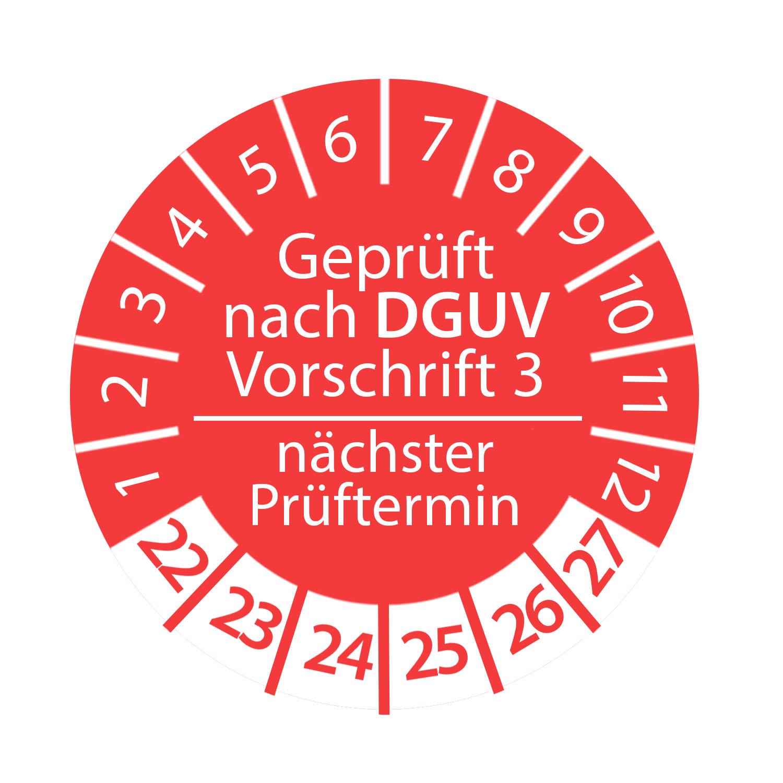 Prüfplakette DGUV Vorschrift 3 2022 - 2027 nächster Prüftermin 3cm Rund Geprüft nach DGUV Rot