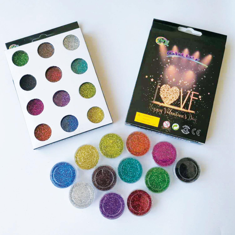 Glitzer Glitzerpulver Glitzer-Staub Glitter für Glitzer Tattoo´s Nail Set 12 Farben