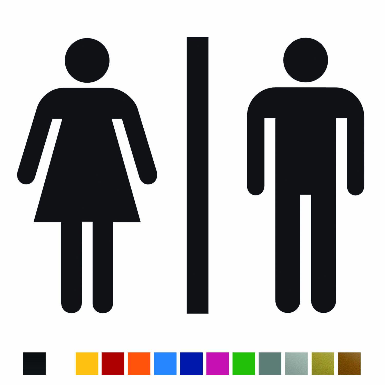 Aufkleber Türaufkleber Bad - WC Classic Mann Frau Toilette Fun Sticker Schwarz oder Wunschfarbe