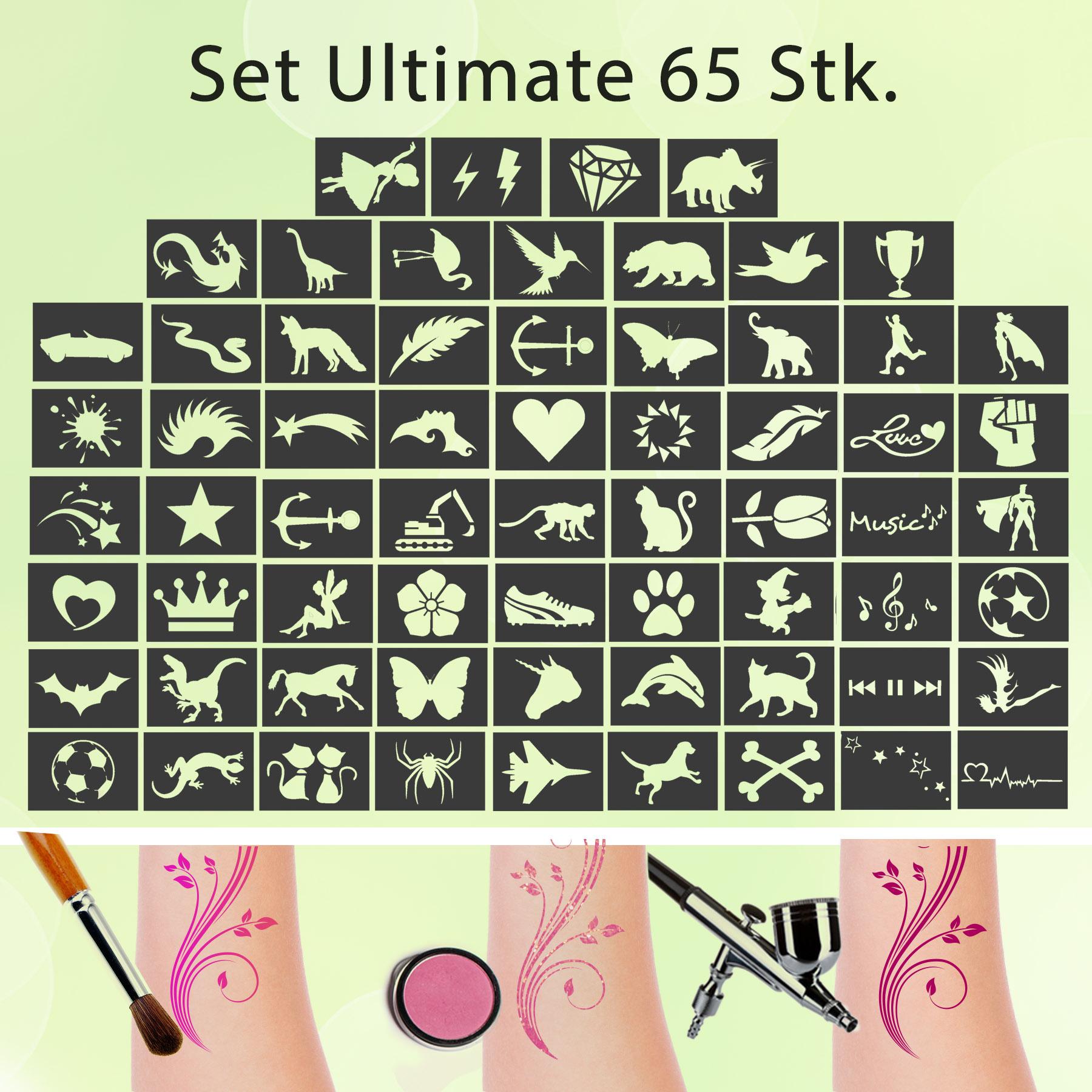Tattoo Schablonen SET Ultimate (65 Stück) Selbstklebend Kinderschminken Airbrush