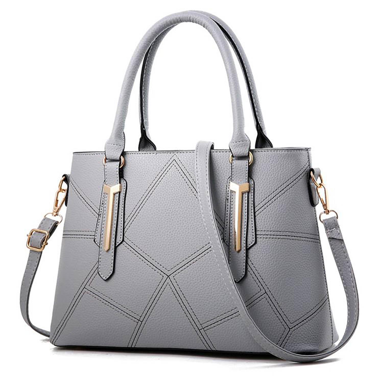 Handtasche Shopper Tragetasche trendige Umhängetasche Damen stylisches Gitter Muster Gold Applikationen Crossbody