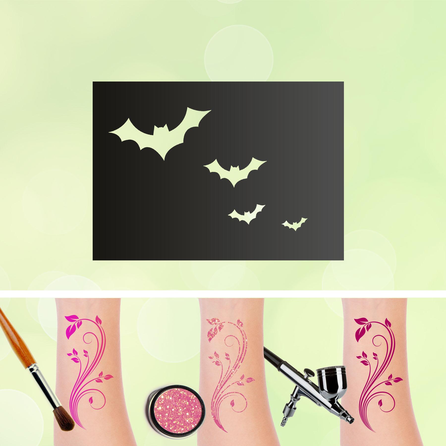 Tattoo Schablonen Fledermäuse Selbstklebend Kinderschminken Airbrush