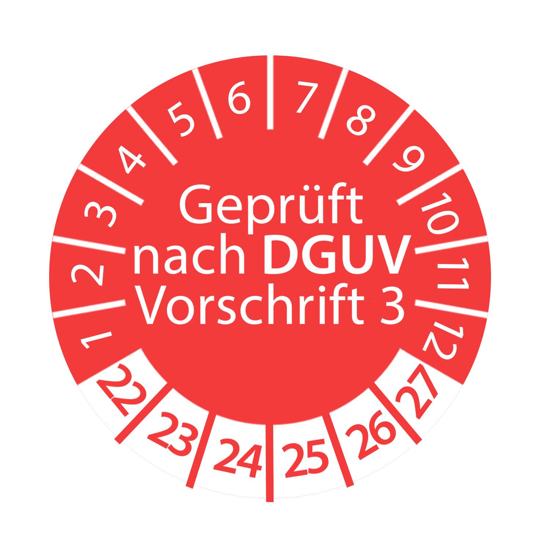 Prüfplakette DGUV Vorschrift 3 2022 - 2027 3cm Rund Rot Geprüft nach DGUV