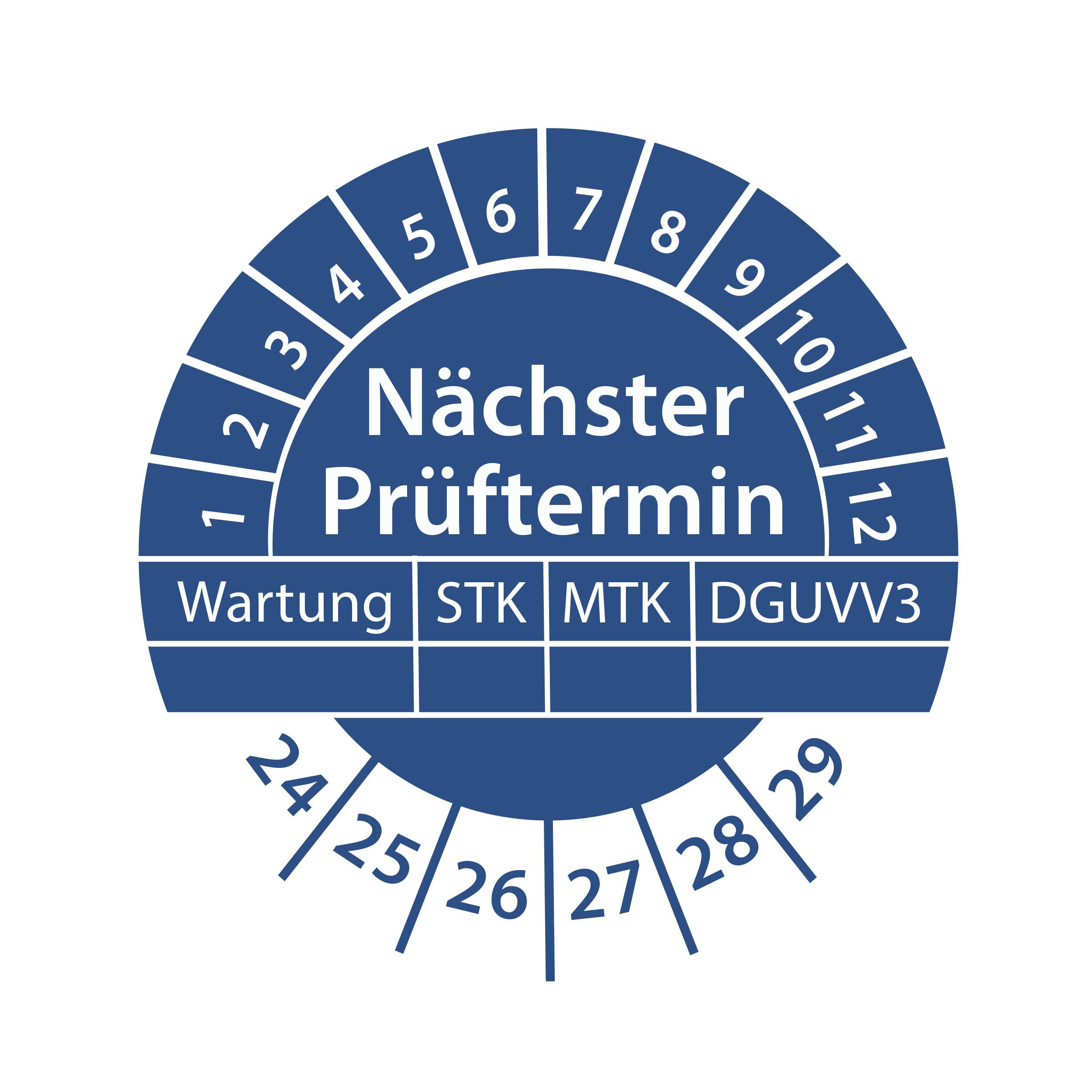 Prüfplakette Nächster Prüftermin Wartung STK MTK 2024-2029 Ø 30mm Rund Gelb / Blau Prüfetikett Prüfaufkleber
