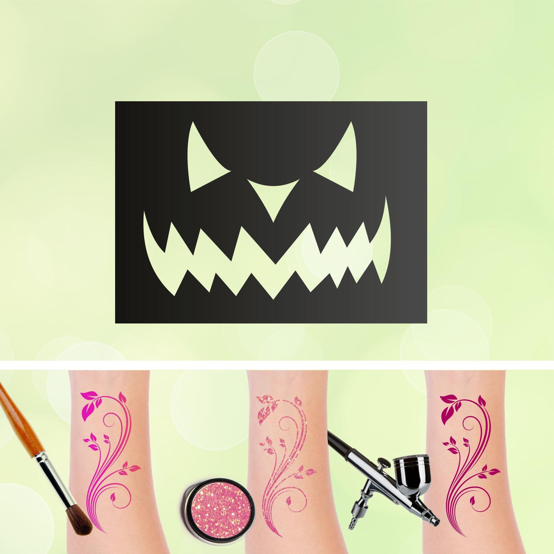 Tattoo Schablonen Kürbis Gesicht Selbstklebend Kinderschminken Airbrush